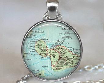 Maui Vintage map necklace, Maui map jewelry, Maui map pendant, Maui pendant, Maui necklace, Maui keychain Maui key chain key fob
