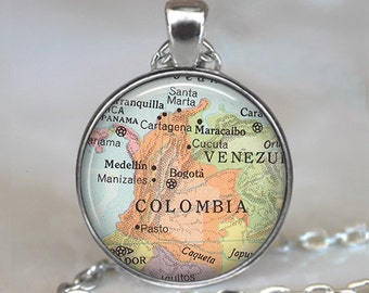 Colombia map pendant, Colombia map necklace, Colombia pendant, Colombia necklace map jewelry travel map Colombia keychain key chain key fob