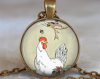 Henny Penny and Tale of Chicken Little story book pendant, chicken jewelry, chicken necklace, chicken lover's gift keychain key chain