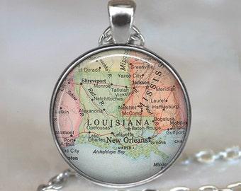 Louisiana map pendant, Louisiana map necklace Louisiana pendant Louisiana state map jewelry map keychain key chain