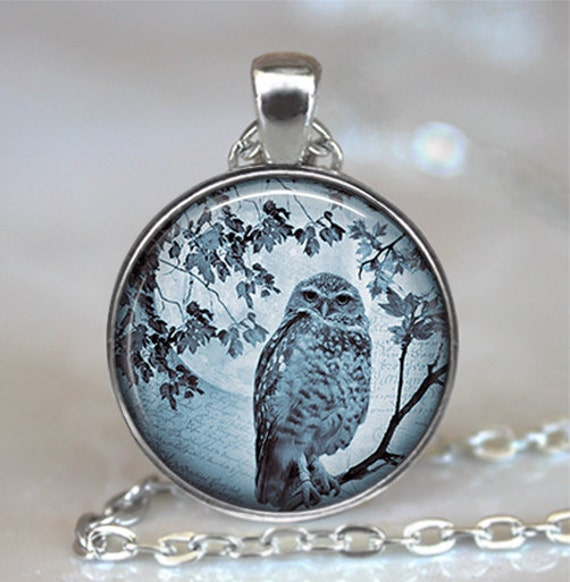 Blue Moon Owl pendant, owl necklace, owl jewelery, owl jewellery, full moon jewelry owl keychain key chain key ring