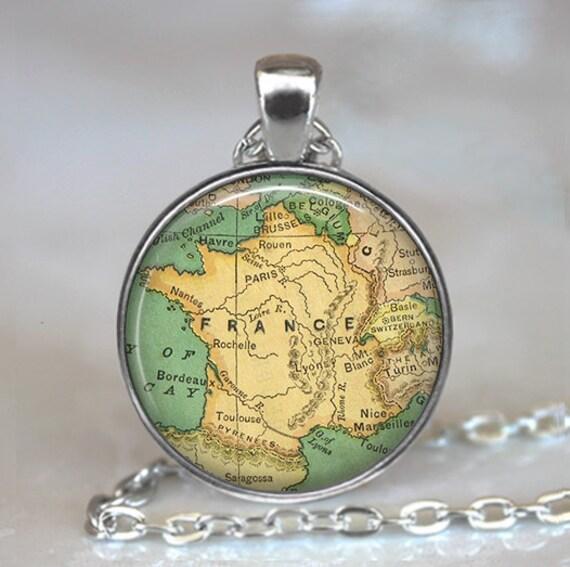 France map pendant, France map necklace, France necklace, France pendant, map jewelry France map keychain key chain key fob