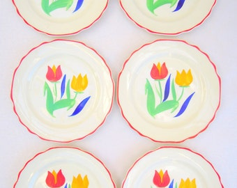 vintage dessert plate set.6.tulips.handpainted.40's.red.green.blue.yellow.farmhouse.tessiemay