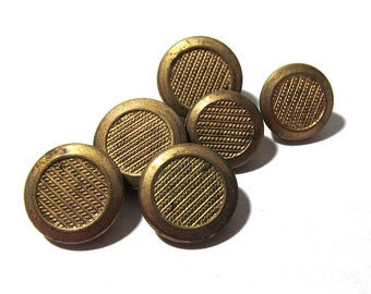 Victorian Gilt Buttons Six (6) ANTIQUE Victorian Buttons Brass Two Piece Gold Tone Buttons Vintage Jewelry Sewing Supplies (M13)