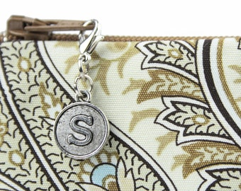 Preppy initial monogrammed zipper pull customizes bags for women - classic clip on zipper charm in block letter