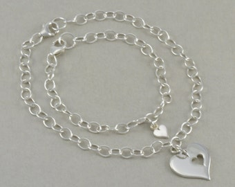 Heart Bracelets, hearts Mother Daughter silver Charm Bracelet SET mom, mum Jewelry Personalized, kids names, date Gift For Mom. MOMMY & ME 1