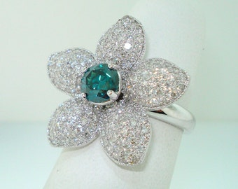 Blue Diamond Flower Engagement Ring  2.66 Carat 14K White Gold Handmade Unique