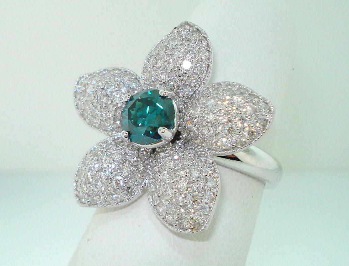 Blue Diamond Flower Engagement Ring Wedding Ring 2 66 Carat