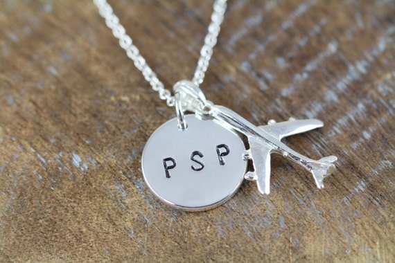 Airport Code Necklaces, Airplane Necklace, Personalized Gift for Pilot Flight Attendant N005