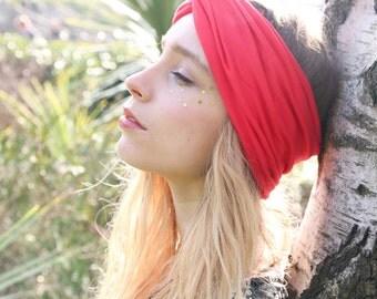 Red Turban Headband, Hippie Headband, Red Headband, Valentine's Day Hair Accessory