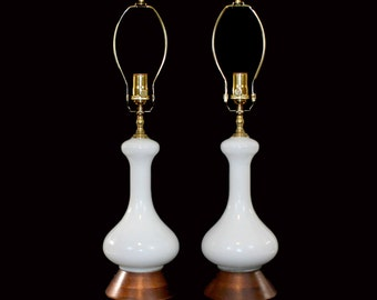PAIR Mid-Century Modern Lamps . Italian White Cased Glass with Walnut Bases
