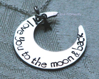 I love you to the moon and back hand stamped necklace in papyrus font