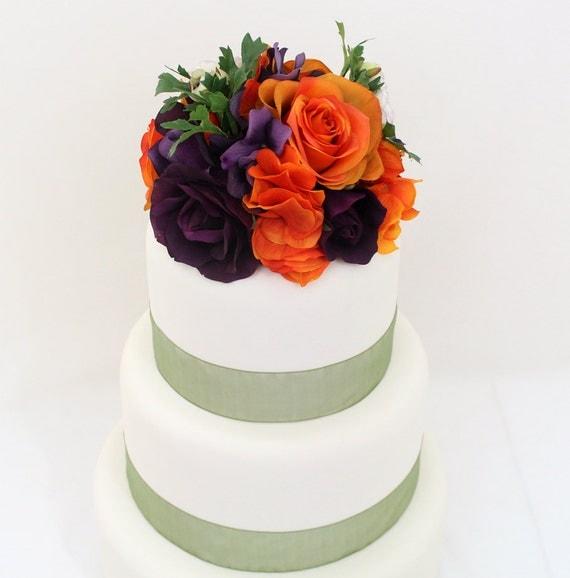 Silk Flower Wedding Cake Toppers: Halloween Inspired Wedding Cake Topper Orange Purple Rose
