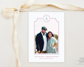 SAVE THE DATE - Sweet Scallop Framed Photo Save the Date Cards by Sincerely, Jackie