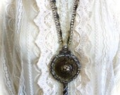 OOAK Huge Ornate Key Statement Pendant Necklace with Multi Strand Chain and Rhinestones