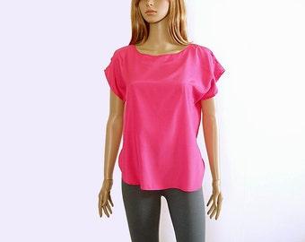 Vintage 1980s Blouse Hot Pink Fuchsia Silky Blouse Top / Medium