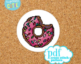 Donut cross stitch pattern. Homer Simpsons. Sprinkle Doughnut kawaii, needlepoint, tapestry PDF, instant digital download, epattern.