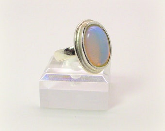 Shimmering Blush Opalite Ring – Soft Pink Ring – Pink Opalite Ring