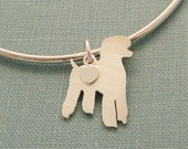 Standard Poodle Dog Bangle Bracelet, Sterling Silver Personalize Pendant, Breed Silhouette Charm, Resue Shelter, Mothers Day Gift
