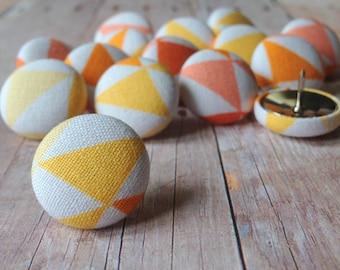 Small Gift,Thumbtacks,15 Thumb Tacks,Push Pins,Pushpins,Peach,Gold,Yellow,Orange,Decorative Push Pins,Home Office,Orange and Yellow Pushpins