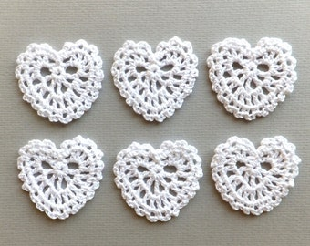 White lace hearts - Crochet hearts applique - rustic wedding decorations - wedding favors - gift wrapping decorations - set of 6