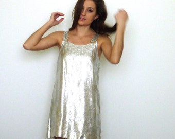 60s Silver Tinsel Space Age Babydoll Shift Dress xs s