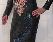 Vintage 80s Bombshell Dress / Heavily Beaded Dress / Long Sleeve Evening Gown