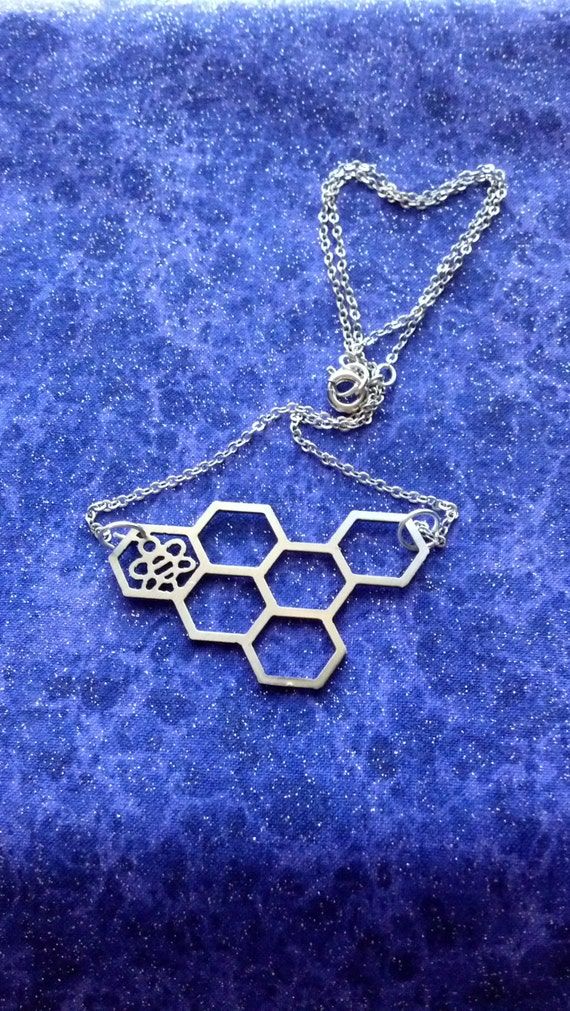 Honeycomb Busy Little Bee - Necklace or Pendant