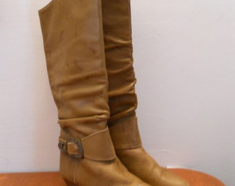 Knee high 1980's tan Pirate boots