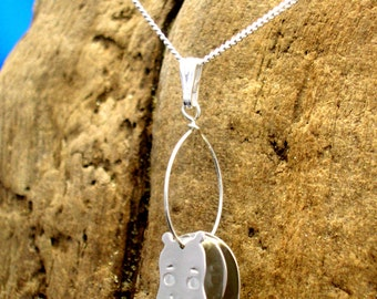 Hippo Necklace, Silver, Hippo Pendant, Handmade, Hippo jewellery, Wildlife Jewellery, Hippos, Animal Jewellery, Hippo Gifts, Hippopotamus.