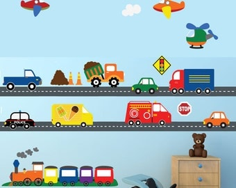 Cars Construction Airplanes Transportation Decal, REUSABLE Decals Non-toxic Fabric Wall Decals for Kids, A194