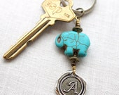 Personalized Keychain, Monogram Keychain or Necklace, Initial Keychain, Lucky Baby Elephant Turquoise, Personalized Womens Gifts for him