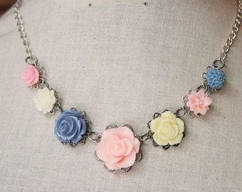 Handmade Necklace Pink Rose Necklace Blue Flower Pink Flower Necklace Flower Bib Necklace Pink Bridesmaids Blue Bridesmaids Wedding Jewelry