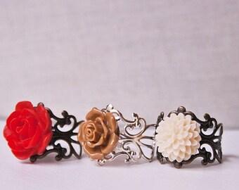 Handmade Flower Ring Red Rose Ring Brown Flower Ring Ivory Flower Ring Resin Rose Ring Adjustable Ring Red Flower Ring Red Ring Brown Ring