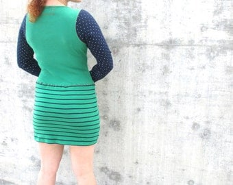 Upcycled Dress Upcycled Clothing Reconstructed Handmade Soft Knit Eco Friendly Stripes Polka Dots Green Dress Blue  M/L Recycled Shirt Dress