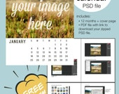 2015 Calendar Template, Digital Download, 5x7 Custom Calendar, PSD Photoshop and Elements Smart Object Layered, Editable