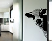 Vinyl Wall Art Decal Sticker Peeking Cow 5476-30x22 (30in Tall X 22in Wide)