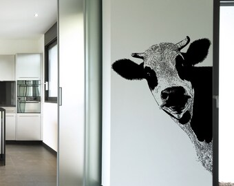 Vinyl Wall Art Decal Sticker Peeking Cow 5476s