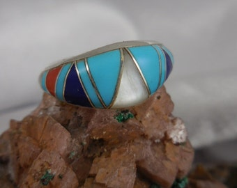Native American Turquoise Band Sterling Silver Ring