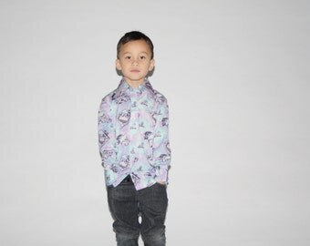 Kid's Vintage Dress Shirt -  1970s Dress Shirt  -  The  Staying Alive Boy's Shirt  - K0039