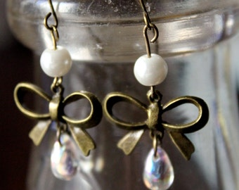 Bow and Pearl Brass Dangle Earrings Ladies Jewelry Brass Bronze Earrings Bow Earrings Pearl Earrings