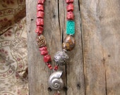 HOLIDAY SALE // Bohemian Goddess Necklace. Bold Statement Necklace. Boho Red Coral Jasper African Sandstone Turquoise Sterling Silver