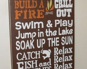 Lake Sign Lake Rules Sign 12 x 24 Pick Your Own Colors Lake House Sign
