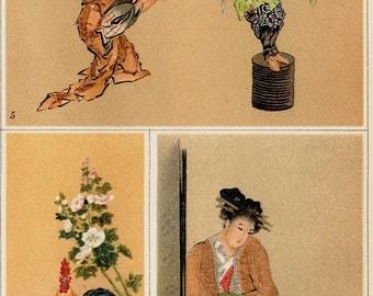 1893 Antique JAPANESE art painting print. Hokusai