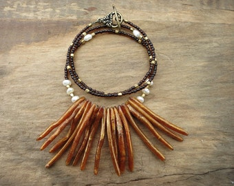 Bohemian Statement Necklace, coral fringe tribal necklace with golden coral sticks and pearls, exotic tropical beach jewelry