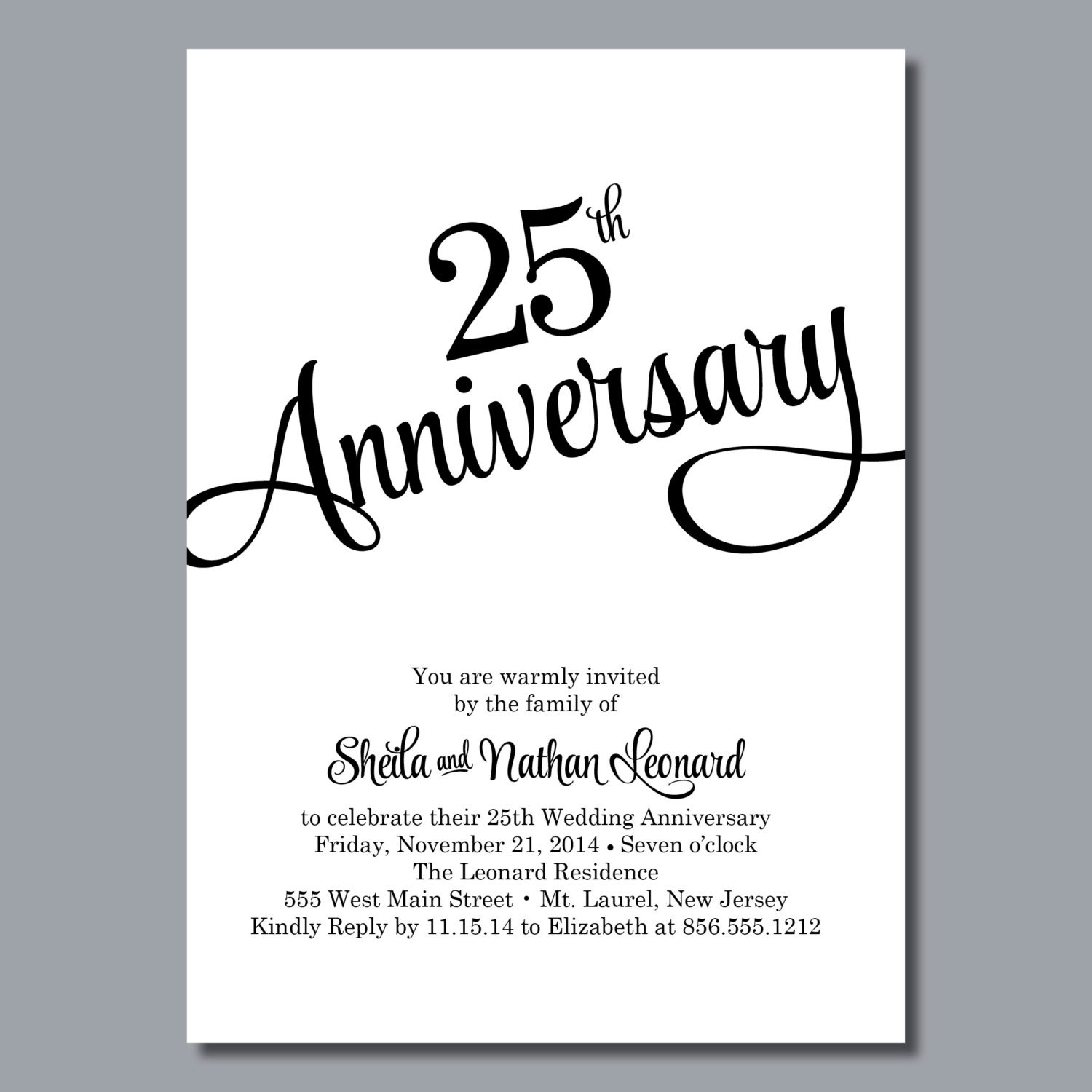 25th Wedding Anniversary Invitation Diy Printable Or Printed