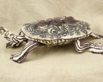 Needle Felted Map Turtle, READY TO SHIP, poseable felted animal