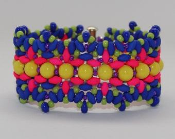 Neon Beaded Flower Garden Bracelet