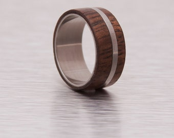 Mens Wood Ring WIth Titanium Ring Mens Wedding Band Silver Ring