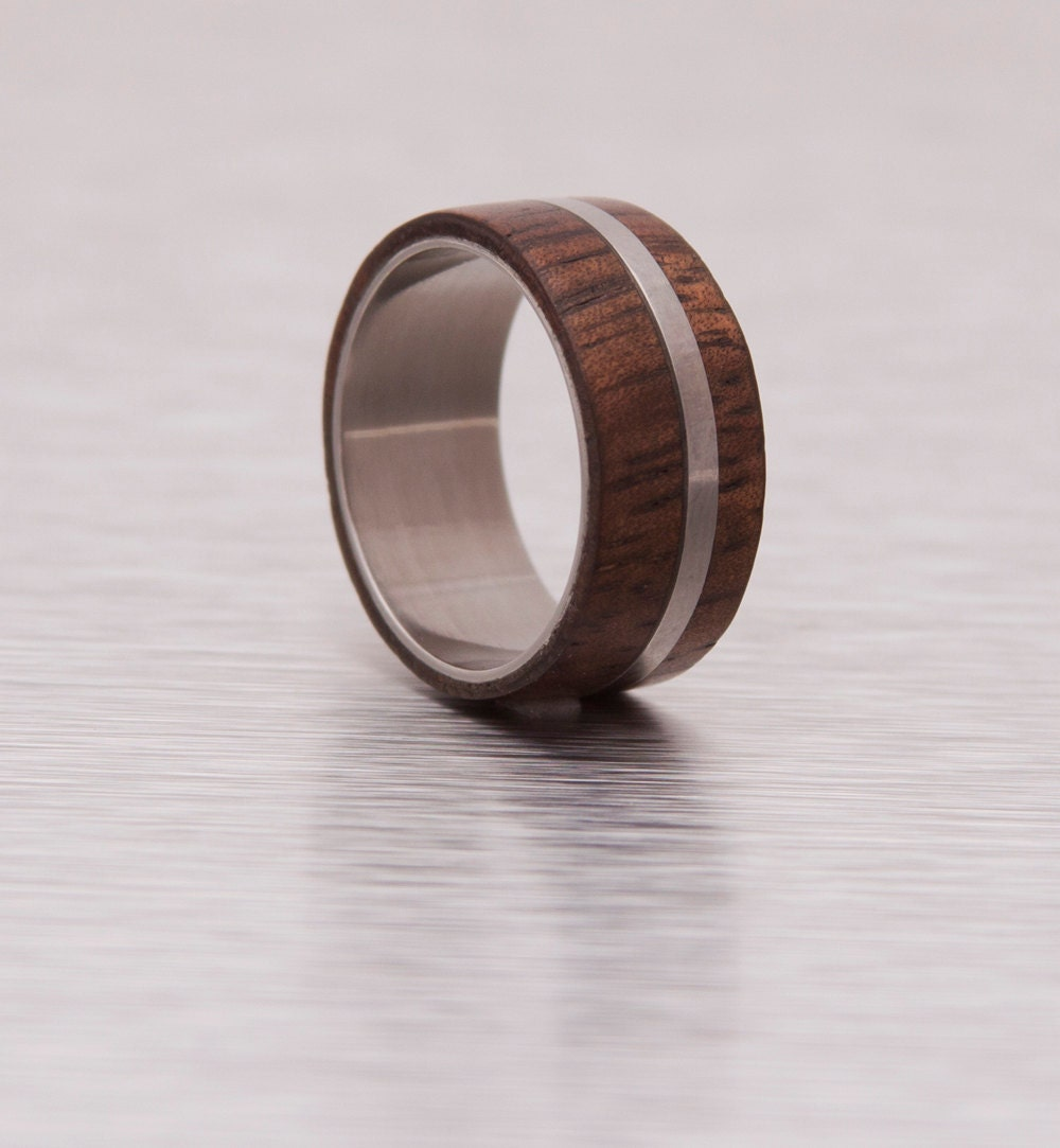 Mens Wood Ring With Titanium Ring Mens Wedding Band Silver